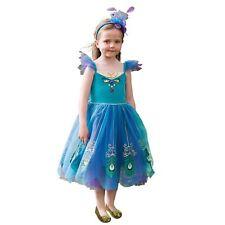 Infantil Azul Pavo Real Hada Pájaro Animal Pluma Cuento De Hadas Disfraz