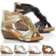Donna tacco zeppa medio peep toe T Bar fiore con cinturino sandalo scarpa numero