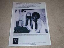 Acoustic Research AR-3a Miles Davis Speaker Ad, 1971, Rare Ad!
