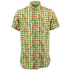 Camisa Hombre Loud Originals Ajustado Dotty Verde Retro Psicodélico Fantasía