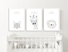 Scandinavian Nursery Prints Animal Pictures for Nursery Decor Neutral Colours