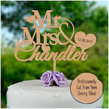 In LEGNO MR Mrs WEDDING CAKE Topper Personalizzato Torta Nuziale Decorazione Bomboniera
