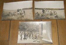 CHASSE A TIR ensemble de 3 photographies anciennes groupe de chasseurs repas