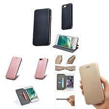 Para Apple Iphone 7 Cartera Fino Cuero Artificial Cierre Magnético Base