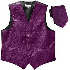 New Men's Formal Vest Tuxedo Waistcoat_necktie paisley pattern wedding purple