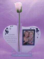 Grandma Gift Heart Glass Poem Photo Frame Rose Handle Love Grandmother Gift