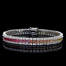 15tcw Princess Multi-Gemstone Tennis Rainbow Bracelet 925 Sterling Silver 8mm