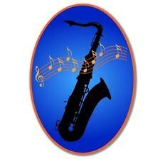 Saxophone Oval Blue Vinyl Sticker - SELECT SIZE