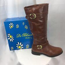 NIB DE BLOSSOM Women's Round Toe Zip Up Riding Boots PITA-15 Cognac