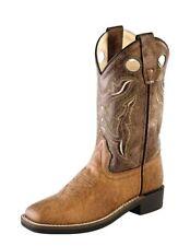 Old West Cowboy Boots Boys Girl Kid Stitching Tan Vintage Brown VB9113