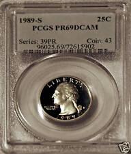 1989-S WASHINGTON QUARTER PCGS PR69DCAM NICE