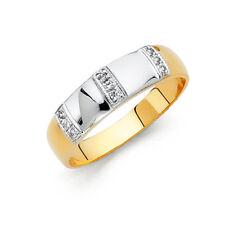 14k Yellow Gold Two Tone Diamond Men's Wedding Band Ring - all size
