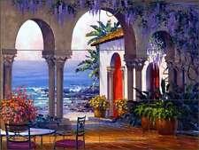 Tile Mural Backsplash Senkarik Ceramic Seascape Courtyard Wisteria Art MSA025