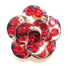 RING Adj Sz Coppertone & RED BIG BRILLIANT FLOWER