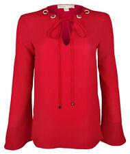 Michael Michael Kors Women's Embellished Grommet Tie-Neck Top