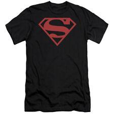Superboy Superman Costume Red On Black Shield DC Licensed Slim Fit Shirt S-2XL