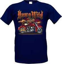 TShirt blau Vintage-,HD-, Biker -,Chopper-& OldSchoolmotiv Modell HAWG Wild
