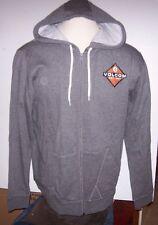 New Volcom gray black sweatshirt hoodie zip front jacket small medium or large