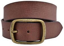 Vintage Full Grain Buffalo Solid Leather Belt w/Gold Finish Center Bar Buckle