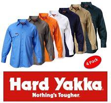 HARD YAKKA - PACK OF 4 - MENS LONG SLEEVE 100% COTTON DRILL WORK SHIRTS - Y07500