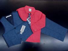Infant & Boys Perry Ellis $50 4pc Ruby & Chambray Vest Suit Size 3/6 Months - 7