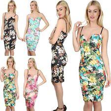 Womens Ladies Floral Print Strappy Cami Plunge V Neck Bralet Bodycon Midi Dress