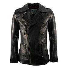 Mens New Black Luxury Leather Military Vintage Style Biker Pea Coat Jacket S-XL