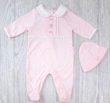 Baby girls pink flower lace sleepsuit hat gift set newborn 0-3 months shower new