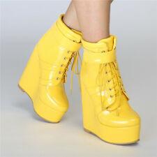 Damenschuhe Wedges Schnürsenkel Gelb Stiefel High Heels Mode Boots sexy 38-47 45