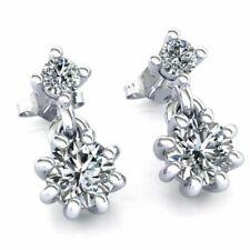 Natural 0.45ct Round Cut Diamond Ladies Salitaire Drop Earrings 14K Gold