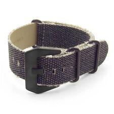 DASSARI Shred Frayed Edge Charcoal Canvas Watch Band Strap w/Matte Black Buckle