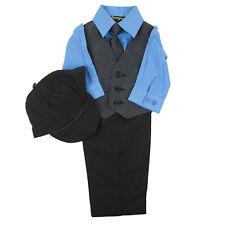 Infant 5 PCS Polka Dot Vest Set Vivid Blue Shirt & Matching Tie Size 3 - 9 Month
