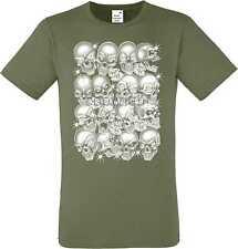 T Shirt im Olivton mit einem Gothik-,Biker-&Tattoomotiv Modell Skulls Bling