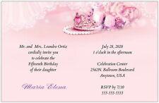30 50 80 100 TIARA Roses Pearls 6x9 Quinceanera Invitation Custom
