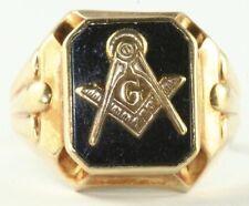 1950'S VINTAGE 10K GOLD ONYX MASONIC MASON RING SIZE 10.25