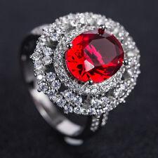 925 Silver Jewelry Oval Cut Red Garnet Women Wedding Ring Size 6-10