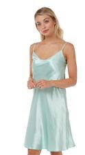 Ladies Plain Aqua Turquoise Satin Chemise Nightie Nightdress PLUS SIZE 8-22!