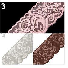 BORTE,SPITZE,Spitzenborte,90 mm,elastisch,braun, grau, rosa ,*E-739*