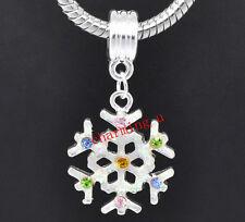 2pz ciondolo charm fiocco di neve in  acciaio smaltato con stass 36x19mm