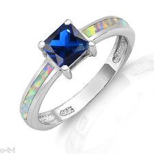 White Opal Blue Sapphire Princess Cut Sterling Silver Ring
