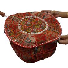 Bohemian Patchwork Ottoman case Vintage Indian Pouf Floor Cushion Cover