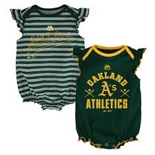 "Oakland Athletics MLB Majestic Infant ""Team Sparkle"" 2 Pack Frill Creeper Set"