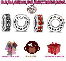 Charm bead Argento 925,cuore,crystal pavè spacer,fit bracelet,ciondolo,collana.