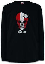 Peru Football Skull I Kids Long Sleeve T-Shirt peruvian Soccer Flag World