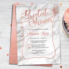 Bridal Shower Invitation - Gray Marble & Rose Gold - Modern Bridal Shower Invite