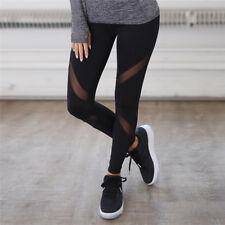Black Mesh Yoga Pants Fitness Sports Leggings Running Trousers Women Fashi neOI
