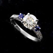 Diamonds Old European Cut Forever One Moissanite Sapphires Engagement Ring