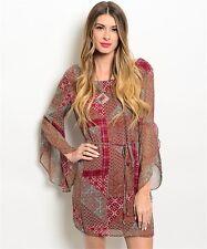 PINK OWL Magenta Rust Long Bell Sleeve Dress - S, M, L