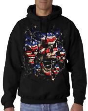 Velocitee Mens Hoodie USA American Flag Patriotic Skulls Biker Chopper A11248