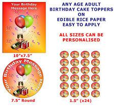 Qualsiasi età personalizzati uomini donne COMPLEANNO TORTA / decorazioni per cupcake PER WAFER CIALDE di riso